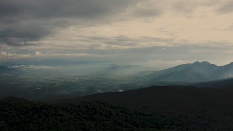 Cloudy panorama from high on a mountain