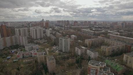 Cloudy skies above apartment blocks