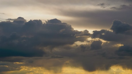 Cloudy sky at sunset, time lapse