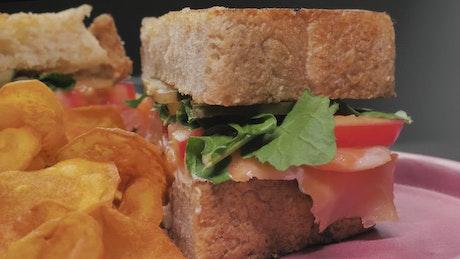 Club sandwich with potato chips