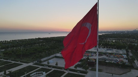 Coast Turkish city from atop a flag on a pole