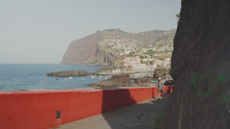 Coastal city seen from afar