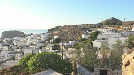 Coastal village on a hot day