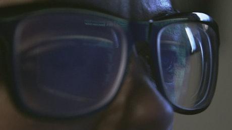 Code reflecting on glasses