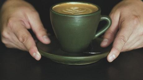 Coffee in green mug