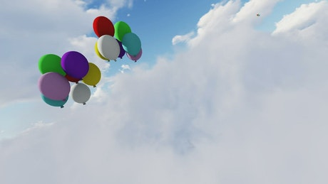 Color balloons floating in the sky