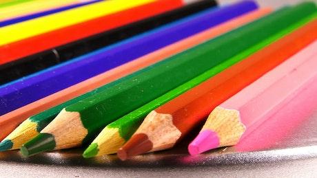 Color pencils, close up shot