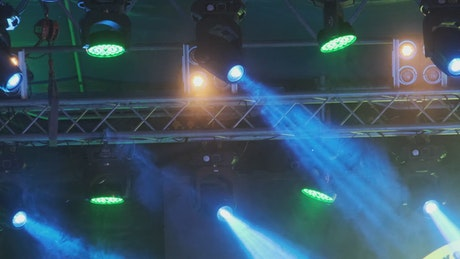 Colored spotlights in a stage
