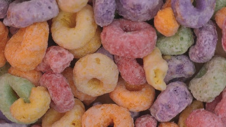 Colored sugared donut cereal