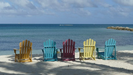 Colorful chairs at the beach