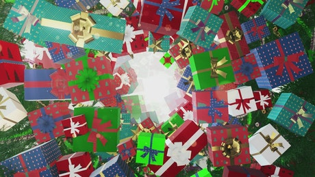 Colorful Christmas gift boxes floating
