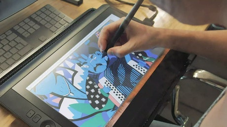Colorful design on tablet