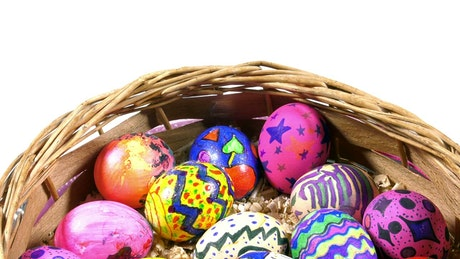 Colorful Easter Eggs with Painted Patterns