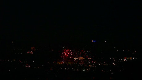 Colorful fireworks in the city