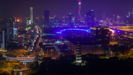 Colorful Guangzhou cityscape at night