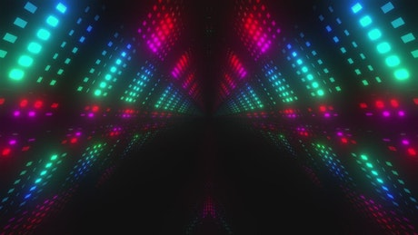 Colorful led triangle tunnel in 3D