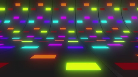 Colorful lights in a curve surface