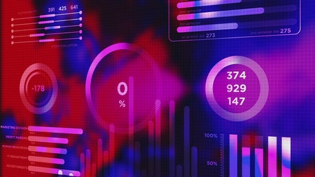 Colorful marketing data HUD graph animation