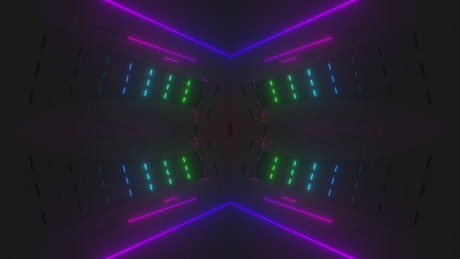Colorful neon lights on the walls of a 3D space