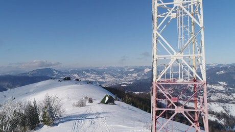 Communications tower on the top of a mountain