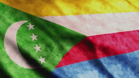 Comoros Flag waving, close up