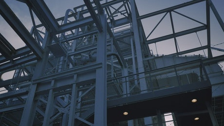 Complex industrial construction made with metal beams