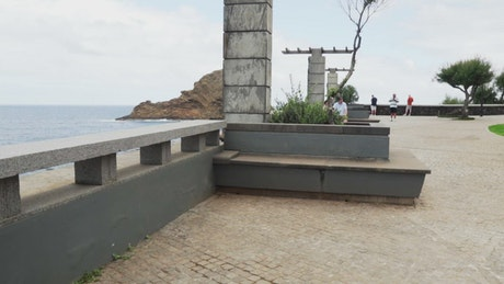 Concrete boardwalk and ocean view