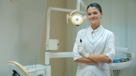 Confident and professional female dentist