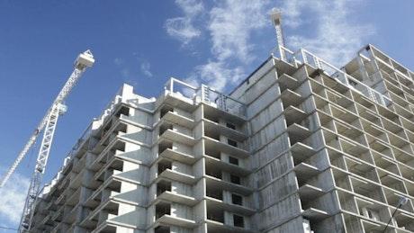 Construction crane over a building