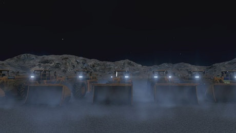 Construction machines at night, 3D render