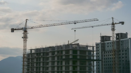 Construction site and cranes working time lapse