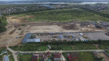 Construction site close to a river