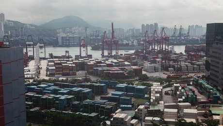 Container port on peak hour in Hong Kong