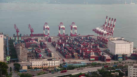 Containerport and cranes working