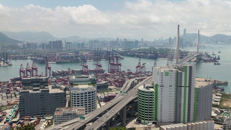 Containerport and Harbor in Hong Kong