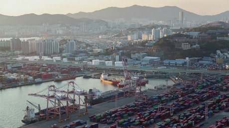 Containerport and the cityscape in Busan