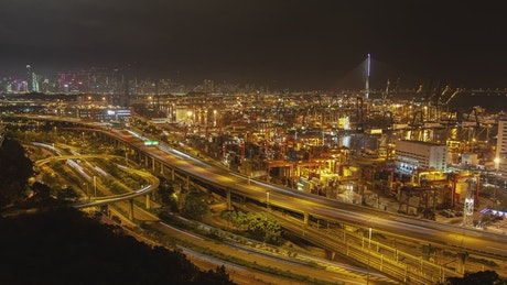 Containerport in Hong Kong and overpass