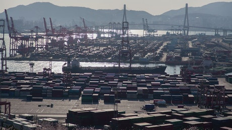 Containerport time lapse in Busan