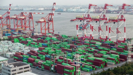 Containerport time lapse in Tokyo