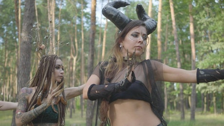 Contemporary dancers demonized in the woods