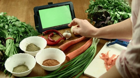 Cooking and using tablet
