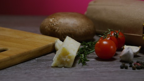 Cooking ingredients for an Italian meal