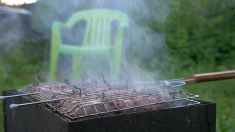 Cooking meat in the garden