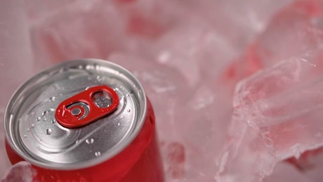 Cooler with soda, detail view