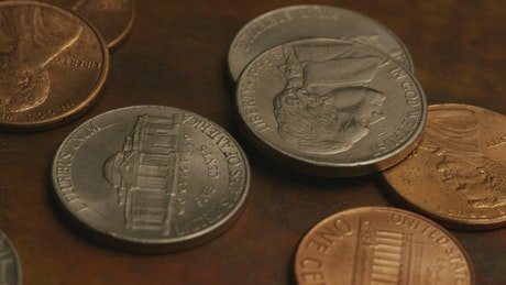 Copper and silver coins on the table