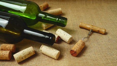 Corks falling onto a table