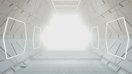 Corridor of a futuristic spaceship, 3D loop video