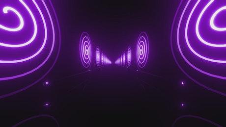 Corridor walls with spirals of purple neon lights