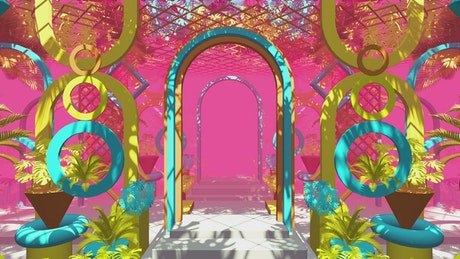 Corridor with arches and colored figures, 3D