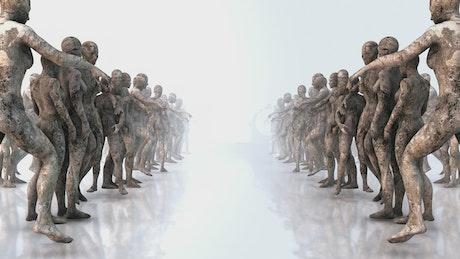 Corridor with human body sculptures